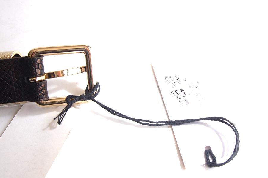 ティベリオ・フェレッティ TIBERIO FERRETTI リザード型押しレザーメッシュベルト 1049 110 ブロンズイメージ04