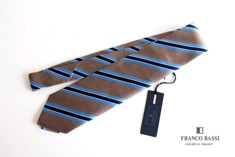 フランコバッシ Franco Bassi レジメンタルシルクネクタイ ベージュ×ライトブルー×ネイビーイメージ01