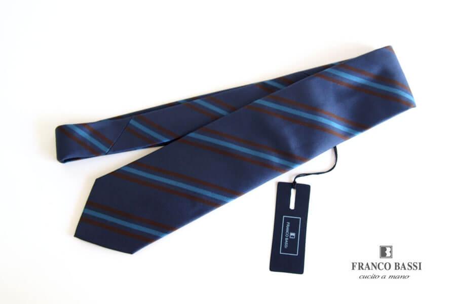 フランコバッシ Franco Bassi レジメンタルシルクネクタイ ブルーイメージ01