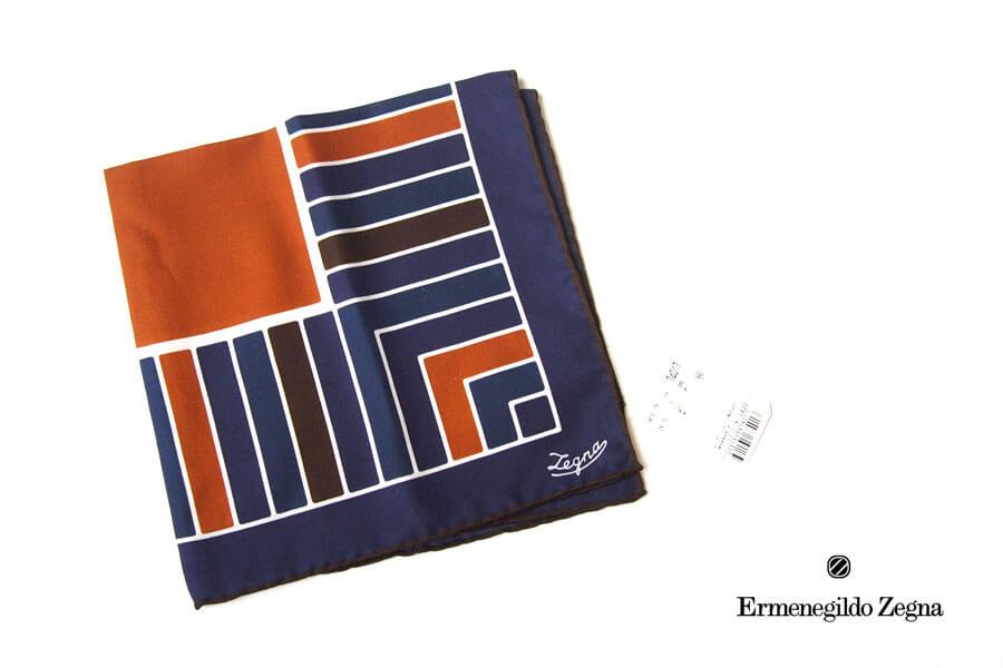 エルメネジルド・ゼニア|Ermenegildo Zegna|シルクポケット スクエアチーフ|ネイビーイメージ01