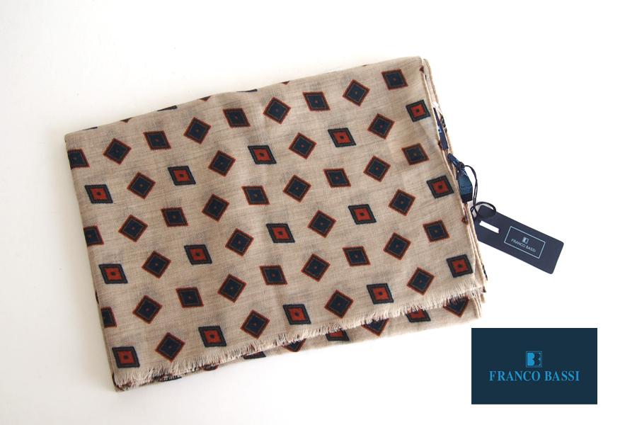 フランコバッシ Franco Bassi ウールストール 菱形小紋柄 ベージュイメージ01
