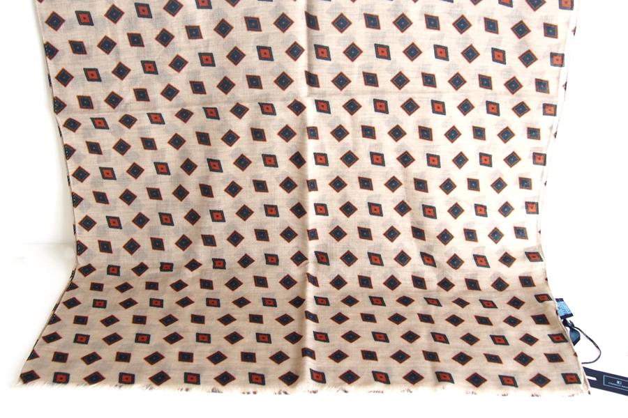 フランコバッシ Franco Bassi ウールストール 菱形小紋柄 ベージュイメージ04