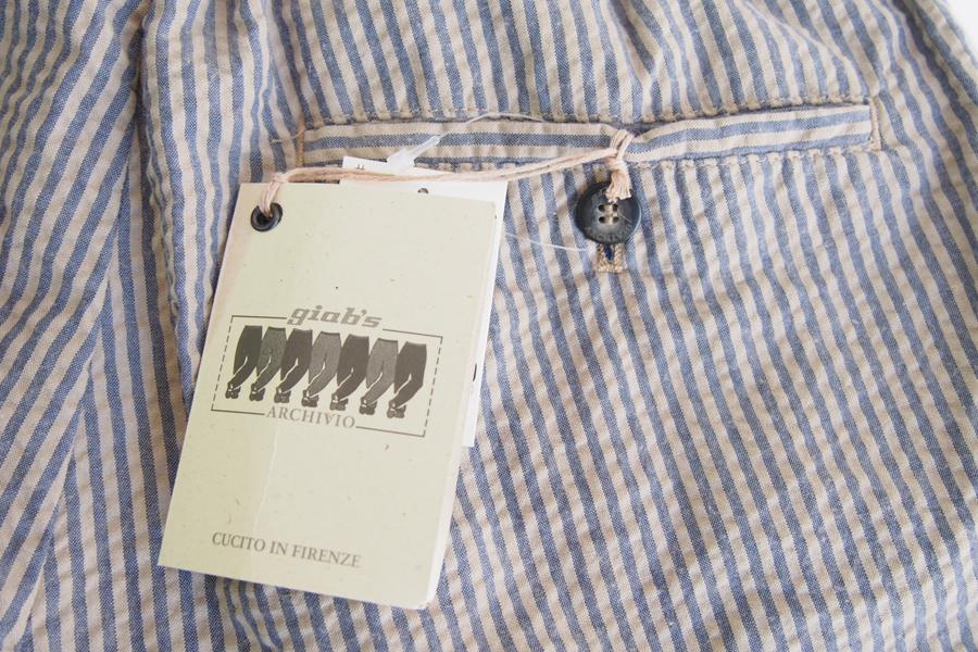 ジャブスアルキヴィオ giab's ARCHIVIO シアサッカーストライプショートパンツ 46 ベージュ×ブルーグレーイメージ06