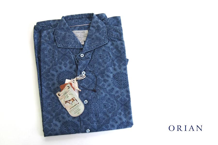 オリアン ORIAN シャンブレープリントシャツ デニムディヴィジョン YD91 SLIM FIT ブルー Mイメージ01