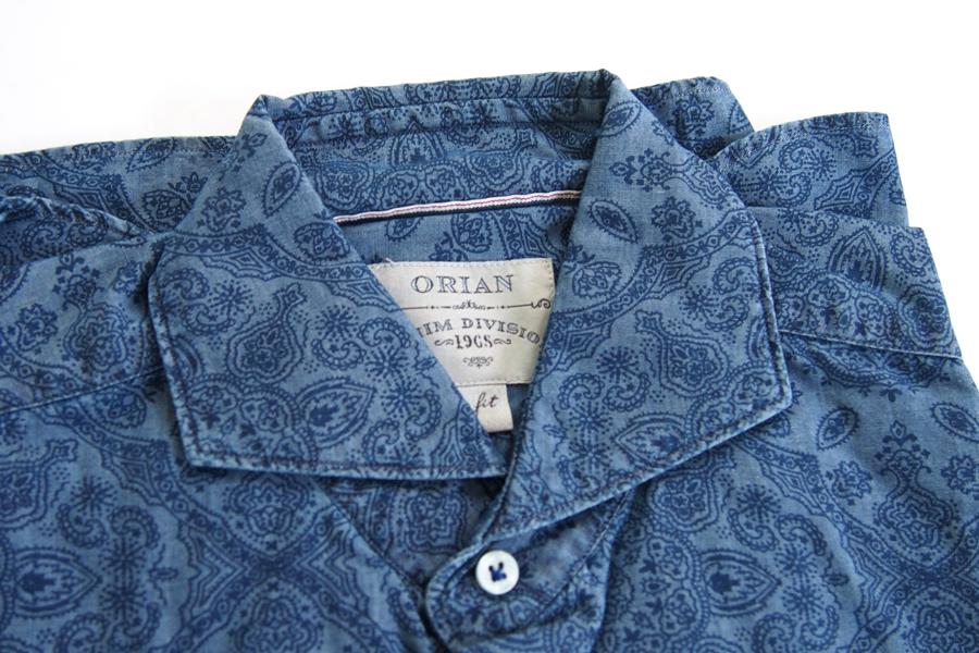オリアン ORIAN シャンブレープリントシャツ デニムディヴィジョン YD91 SLIM FIT ブルー Mイメージ02