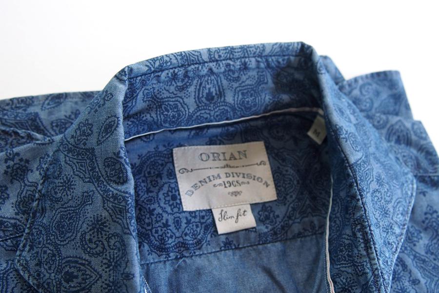 オリアン ORIAN シャンブレープリントシャツ デニムディヴィジョン YD91 SLIM FIT ブルー Mイメージ03