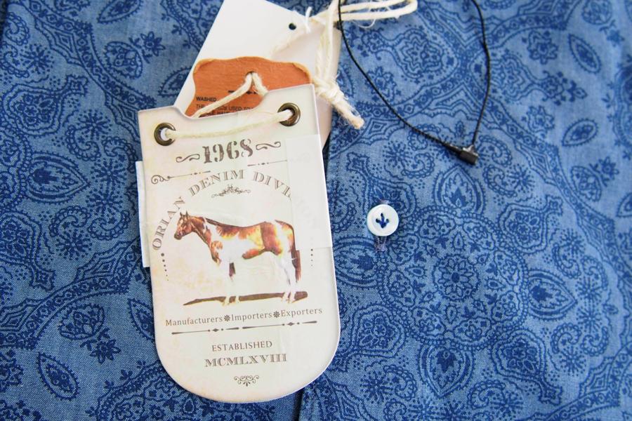 オリアン ORIAN シャンブレープリントシャツ デニムディヴィジョン YD91 SLIM FIT ブルー Mイメージ04