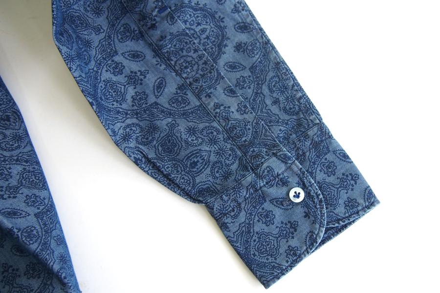 オリアン ORIAN シャンブレープリントシャツ デニムディヴィジョン YD91 SLIM FIT ブルー Mイメージ05