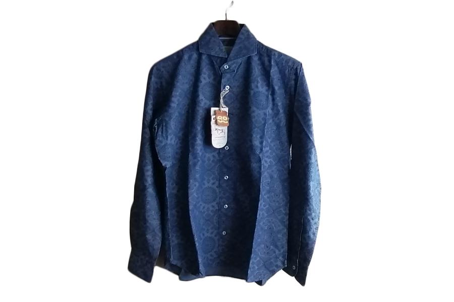 オリアン ORIAN シャンブレープリントシャツ デニムディヴィジョン YD91 SLIM FIT ブルー Mイメージ06