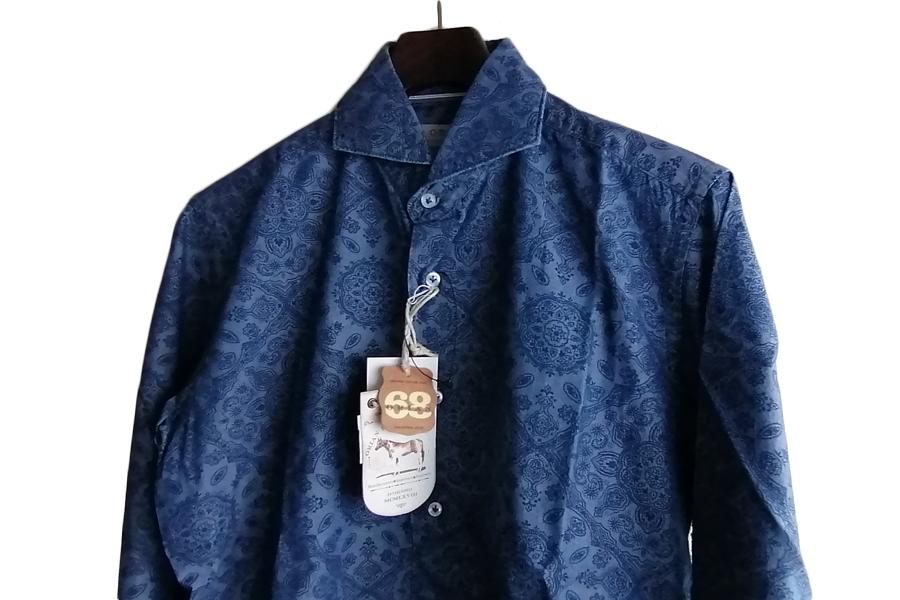 オリアン ORIAN シャンブレープリントシャツ デニムディヴィジョン YD91 SLIM FIT ブルー Mイメージ07