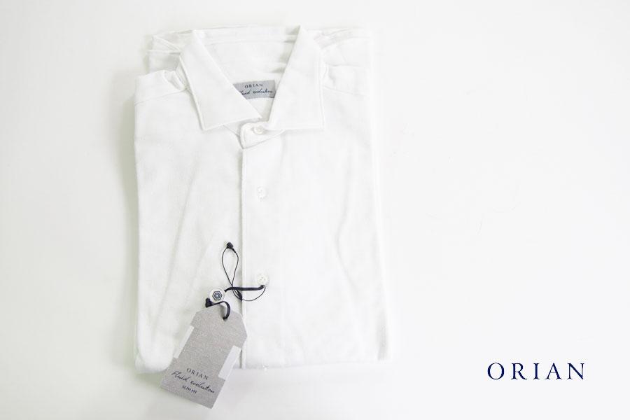 オリアン|ORIAN|ジャージー小紋柄シャツ|FLUID EVOLUTION|SLIM FIT|ホワイト|YJ85|Sイメージ01