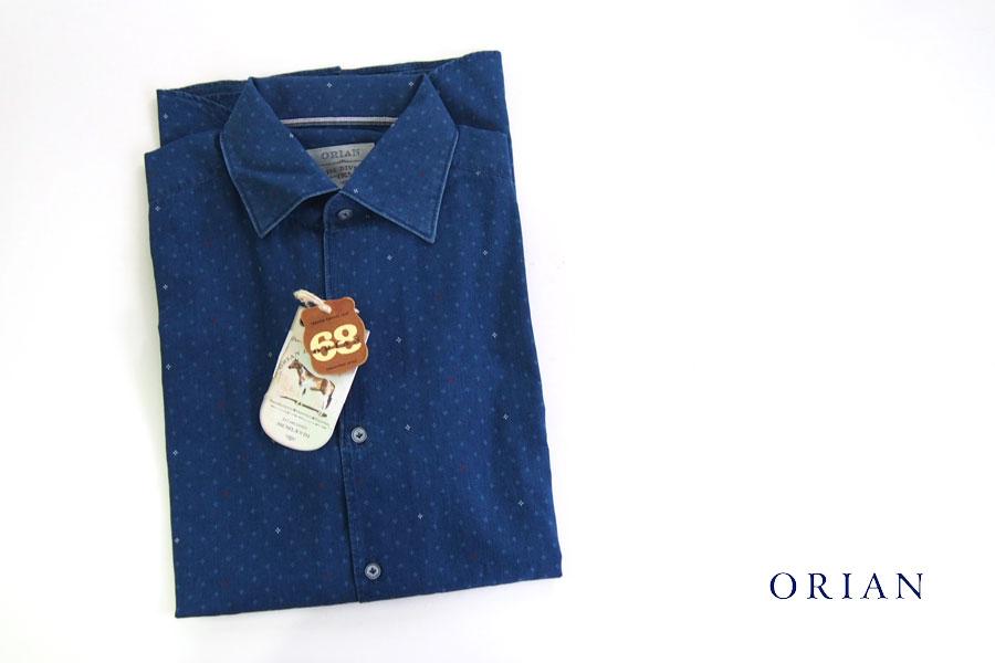 オリアン|ORIAN|シャンブレー小紋柄プリントシャツ|デニムディヴィジョン|SLIM FIT|0D14|Mイメージ01