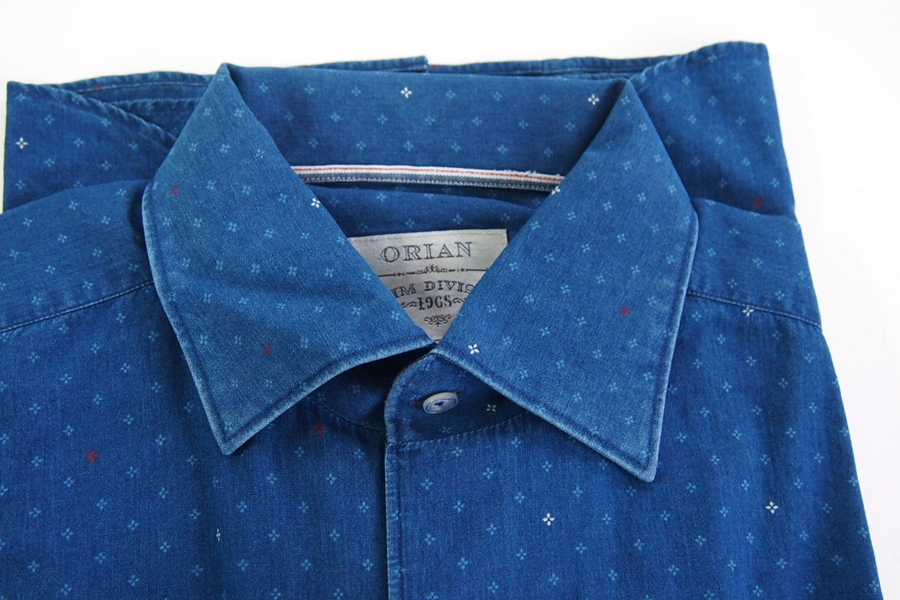 オリアン|ORIAN|シャンブレー小紋柄プリントシャツ|デニムディヴィジョン|SLIM FIT|0D14|Mイメージ02