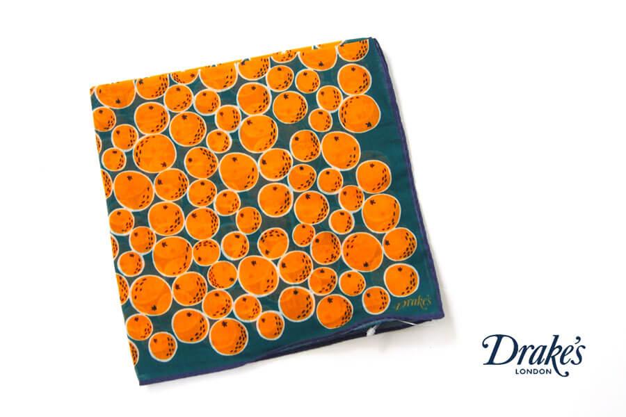 ドレイクス Drake's コットンシルクポケットチーフ オレンジ柄プリントイメージ01