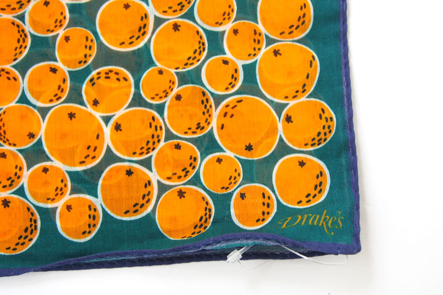 ドレイクス Drake's コットンシルクポケットチーフ オレンジ柄プリントイメージ02
