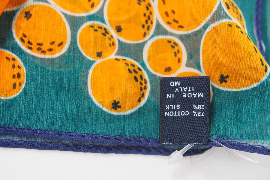 ドレイクス Drake's コットンシルクポケットチーフ オレンジ柄プリントイメージ03