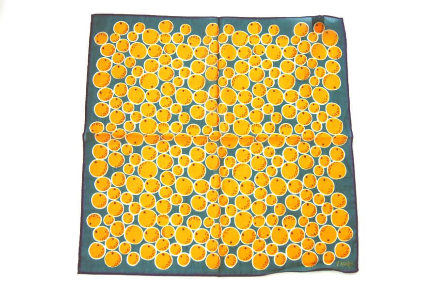 ドレイクス Drake's コットンシルクポケットチーフ オレンジ柄プリントイメージ04